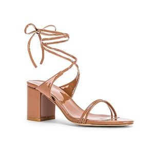 Raye Ion patent block heel lace up wrap ankle